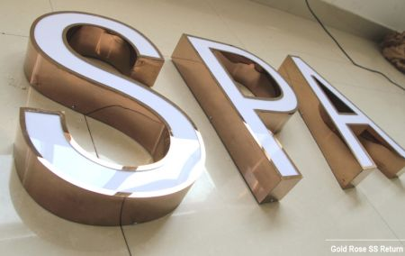 Face Lit Acrylic Channel Letters Colors PVD Stainless Steel Return for Shop Sign Front with CE UL LED